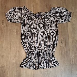 Miley Max Azria Top | Zebra Print Blouse Top